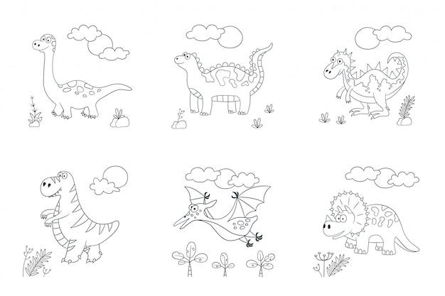 Dinosauri. set di dinosauri illustrazione in stile doodle e cartone animato Vettore Premium