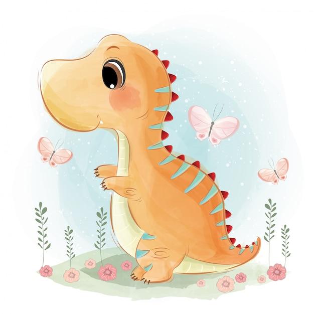 Dinosauro carino giocando felicemente Vettore Premium