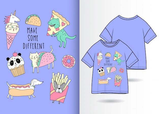 Dinosauro disegnato a mano, unicorno, gatto, cane e panda Vettore Premium