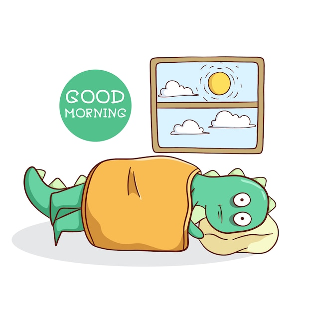 Dinosauro divertente svegliarsi tardi con stile doodle Vettore Premium