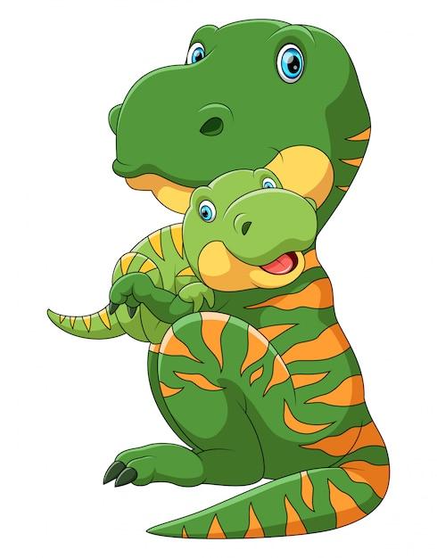 Dinosauro madre che trasporta cute baby dinosauro Vettore Premium