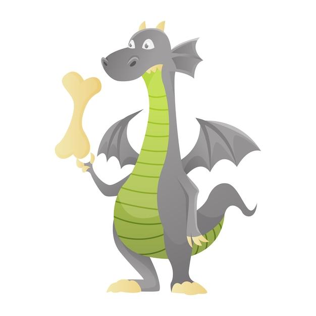 Dinosauro sveglio del bambino del carattere di dino della libellula di vettore del fumetto del drago per l'illustrazione di dino di favola dei bambini isolata Vettore Premium