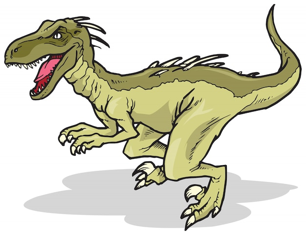 Dinosauro velociraptor Vettore Premium