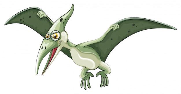 Dinosauro volante su bianco Vettore gratuito