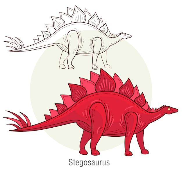 Dinosaurstegosaurus Vettore Premium