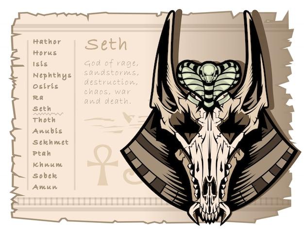 Dio della guerra, della tempesta e dell'anarchia seth nell'antico egitto Vettore Premium