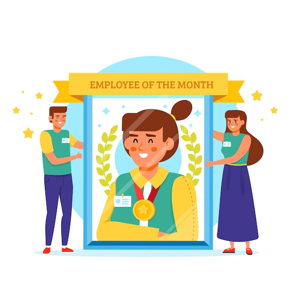 Dipendente del mese illustrazione Vettore gratuito