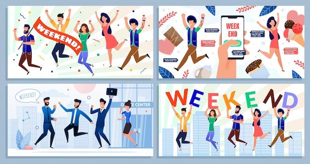 Dipendente team satisfied con weekend cartoon set Vettore Premium