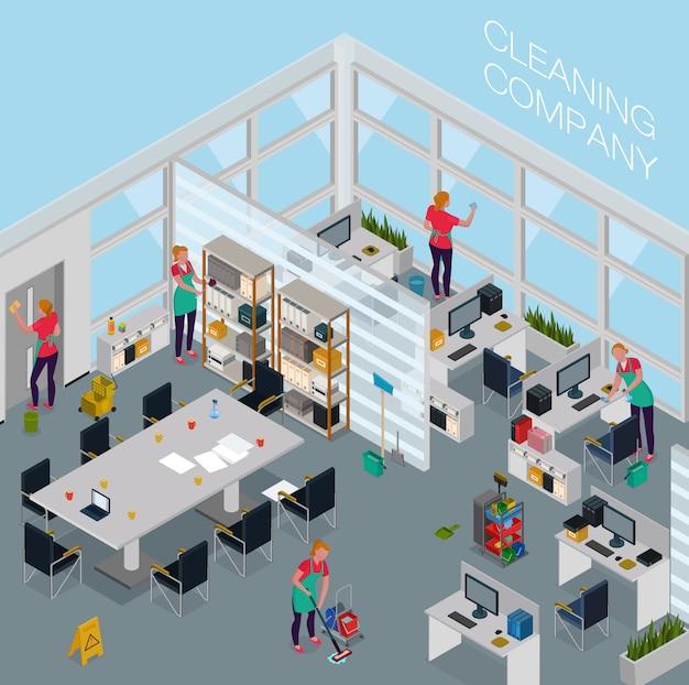 Dipendenti del servizio di pulizia con attrezzature professionali durante il lavoro in ufficio isometrico Vettore gratuito