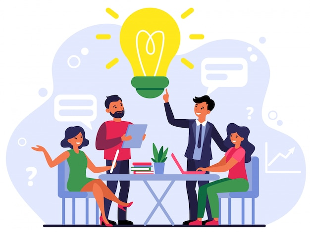 Dipendenti dell'azienda che condividono pensieri e idee Vettore gratuito