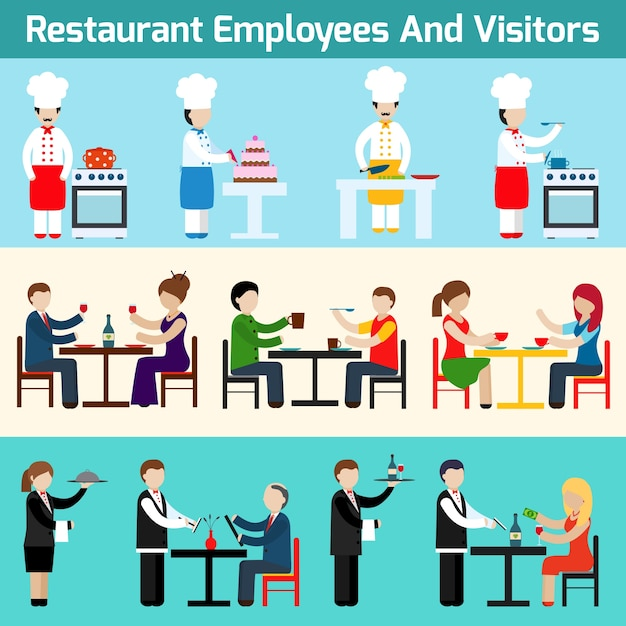 Dipendenti e visitatori del ristorante Vettore gratuito