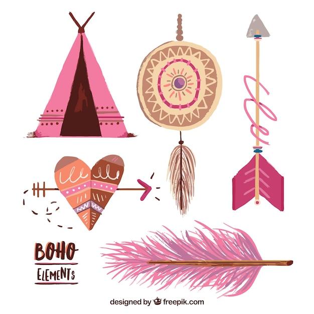 Dipinti a mano accessori indiani Vettore gratuito