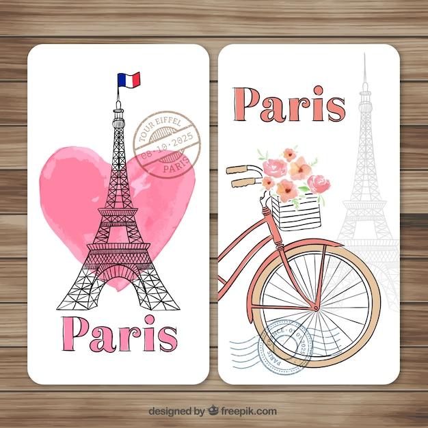 Dipinti a mano le carte parigi Vettore gratuito