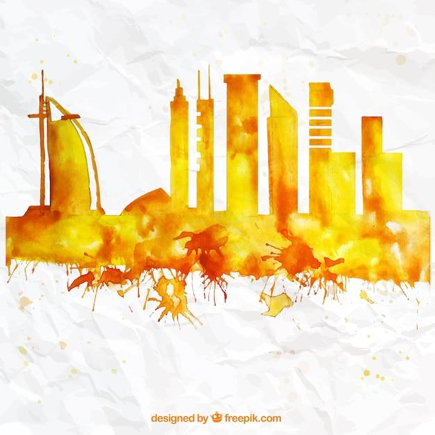 Dipinti a mano skyline di dubai Vettore gratuito