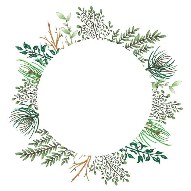 Dipinto a mano con pennarelli cornice floreale con ramoscello, ramo e foglie astratte verdi Vettore gratuito