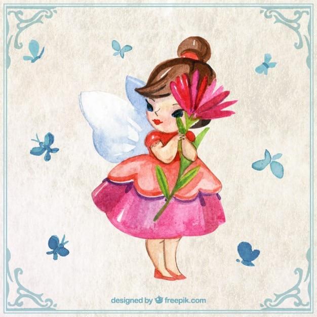 Dipinto a mano fata carino con un fiore Vettore gratuito