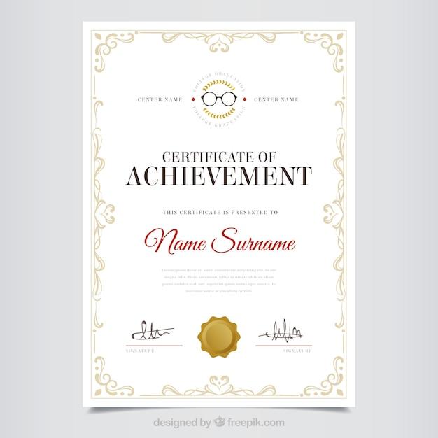 Diploma decorativo di apprezzamento con la struttura classica Vettore gratuito