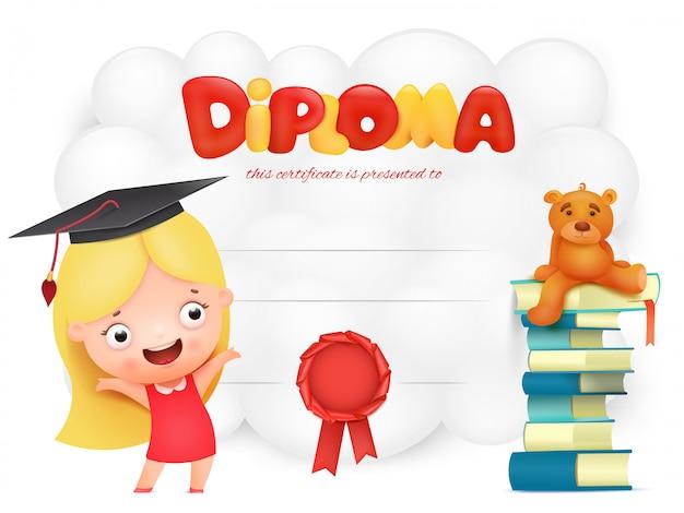 Diploma di bambini in età prescolare con personaggio dei cartoni animati della ragazza. Vettore Premium