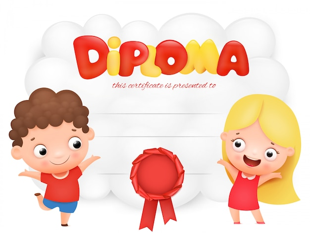 Diploma di bambini in età prescolare Vettore Premium