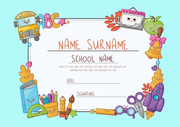 Diploma di fumetto kawaii per la scuola elementare. Vettore Premium