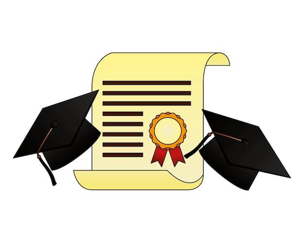 Diploma di pergamena e diploma di cappello Vettore Premium