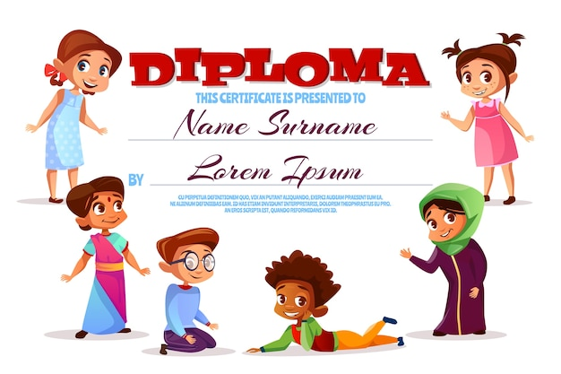 Diploma o illustrazione di certificato di scuola materna. Vettore gratuito