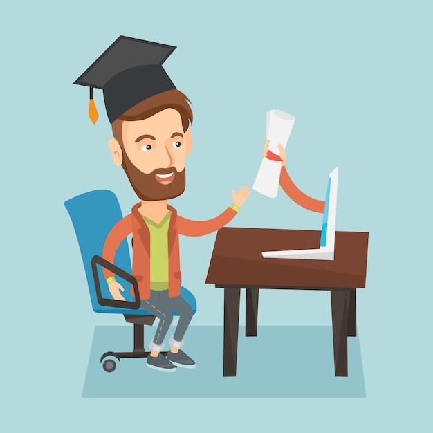 Diploma ottenendo il diploma dal computer. Vettore Premium