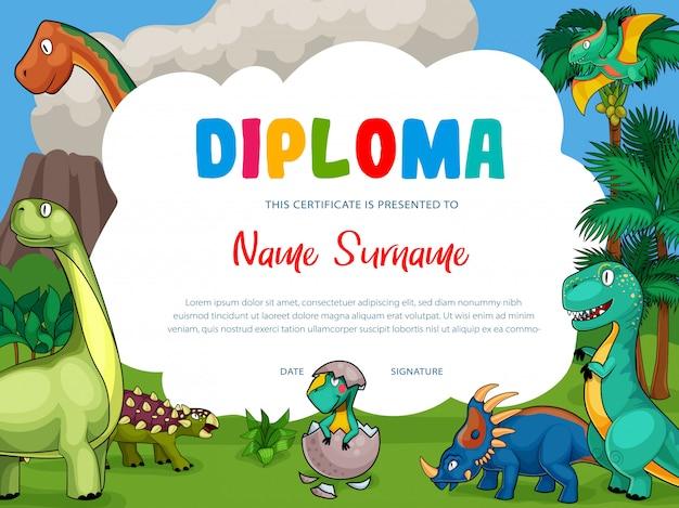 Diploma per bambini con simpatici dinosauri dei cartoni animati Vettore Premium