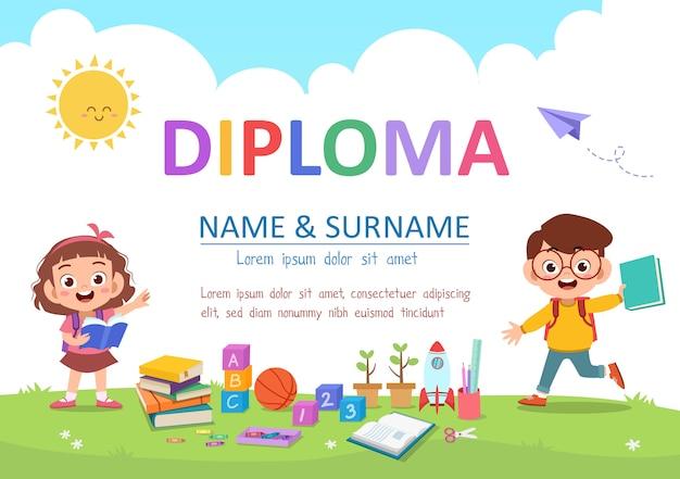 Diploma per bambini in età prescolare Vettore Premium