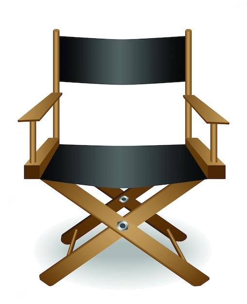 Direttore del cinema sedia e lente vettoriale Vettore Premium