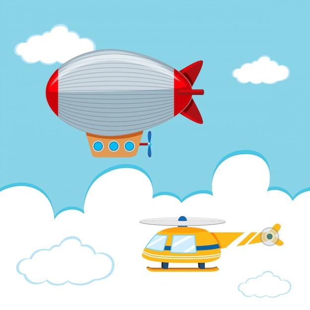 Dirigibile ed elicottero nel cielo Vettore gratuito