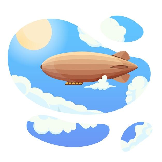 Dirigibile in cielo blu e nuvole. dirigibile d'epoca zeppelin. palloncino direzionale Vettore Premium