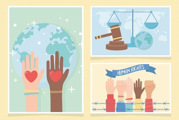 Diritti umani, mani alzate pugno cuori amano le carte del mondo illustrazione vettoriale Vettore Premium