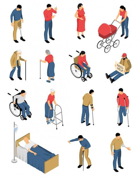 Disabili isometrici set di immagini colorate isolate con personaggi umani di persone con mobilità ridotta Vettore gratuito