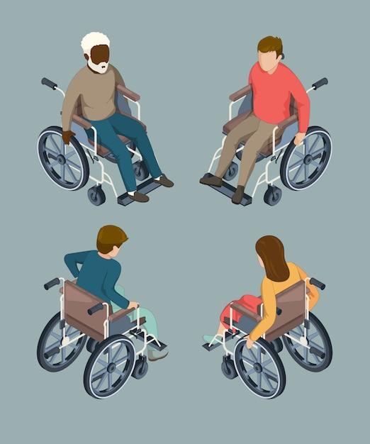 Disabili persone di sesso maschile e femminile in sedia a rotelle. illustrazioni vettoriali isometriche isolate Vettore Premium