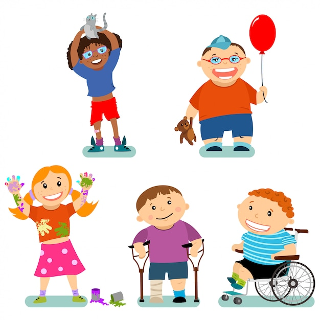 Disabilità e bisogni speciali dei bambini con gli amici. personaggi dei cartoni animati di vettore messi isolati Vettore Premium