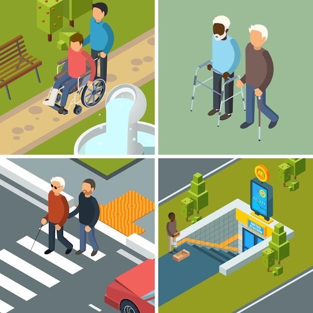 Disabilità in città. immagini isometriche di concetto urbano delle attrezzature delle stampelle dei camminatori delle sedie a rotelle degli escursionisti delle sedie a rotelle degli assistenti sanitari Vettore Premium