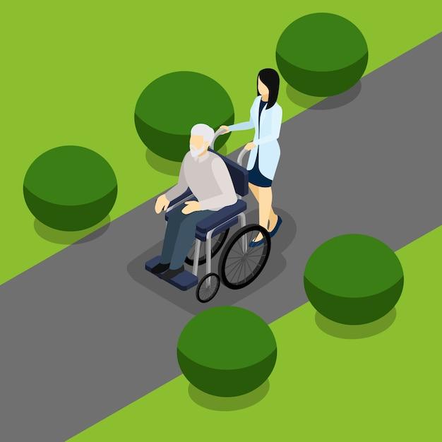 Disabilitato banner isometrico vita pensionati Vettore gratuito