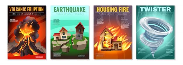 Disastri naturali 4 manifesti colorati con terremoto alloggiamento fuoco tornado eruzione vulcanica tornado isolato Vettore gratuito