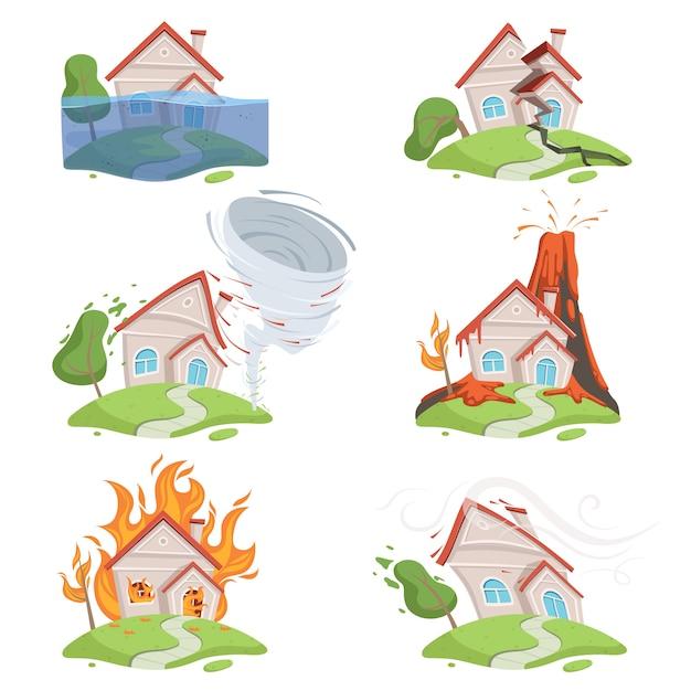 Disastro naturale. scena del fumetto di distruzione del tornado dell'acqua della lava del vulcano dello tsunami del ghiaccio della montagna Vettore Premium