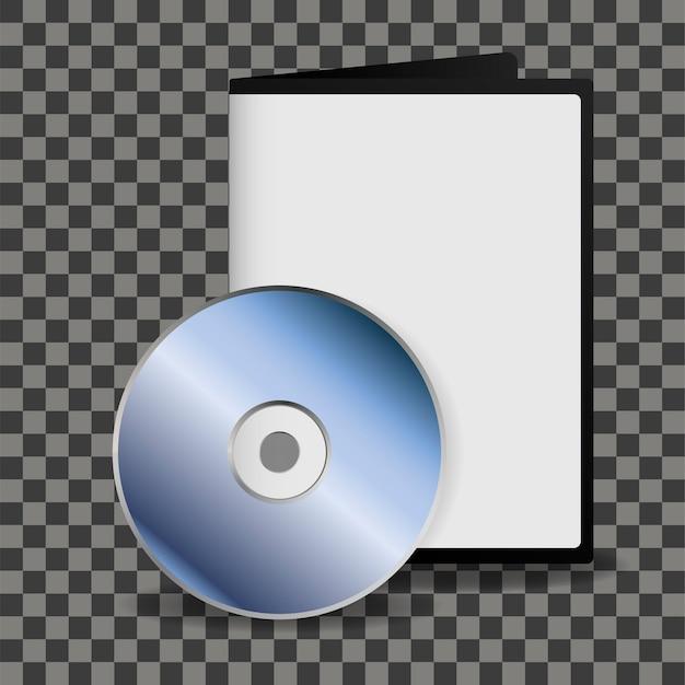 Dischi dvd e modello di box per il tuo disegno su sfondo trasparente. Vettore Premium