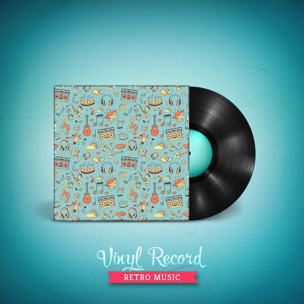 Disco in vinile lp di lunga durata realistico. disco di vinile vettoriale vintage Vettore Premium
