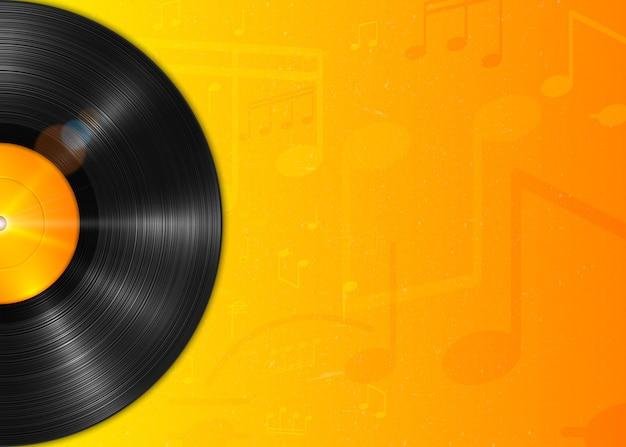 Disco in vinile realistico a riproduzione lunga con etichetta gialla. disco di vinile vintage, sfondo con note. Vettore Premium