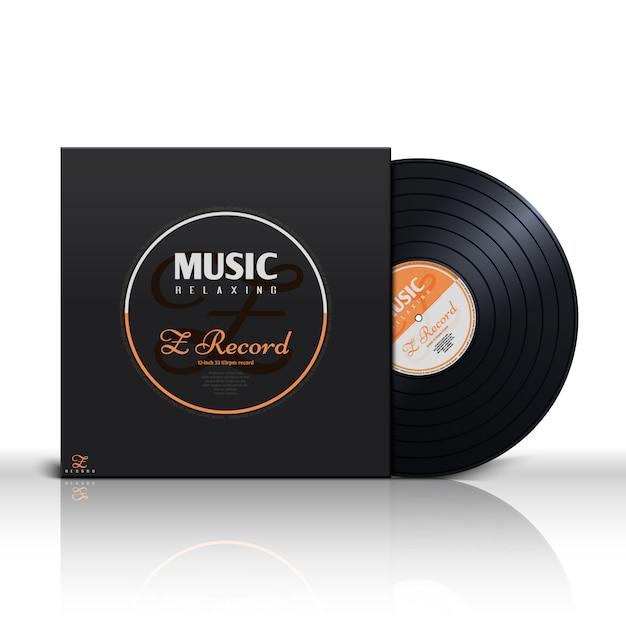 Disco stereo in vinile nero stereo retro Vettore Premium