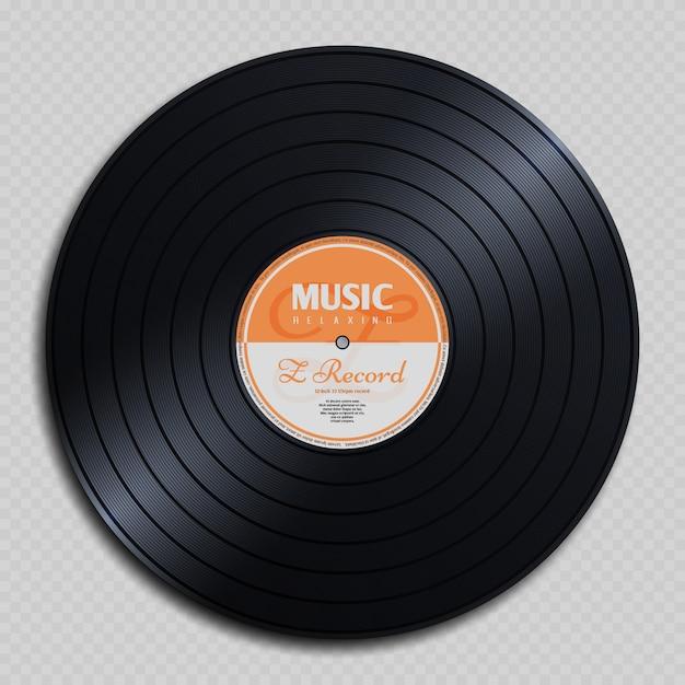 Disco vintage in vinile con registrazione analogica audio Vettore Premium