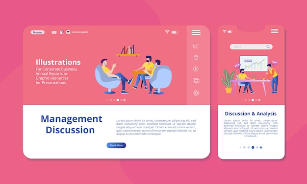 Discussione e analisi illustrazione sullo schermo per web o display mobile. Vettore Premium