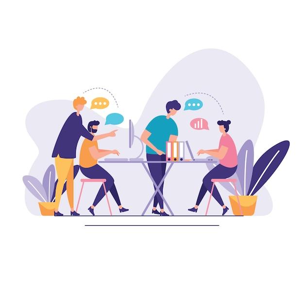 Discussione illustrazione della rete sociale Vettore Premium