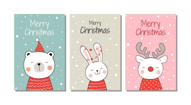Disegna animali di auguri nella neve per natale e capodanno. Vettore Premium