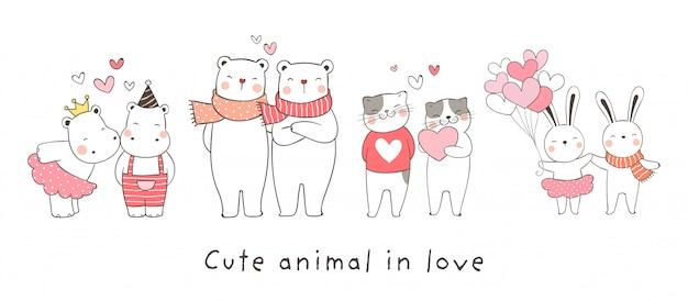 Disegna collezione animale innamorato Vettore Premium