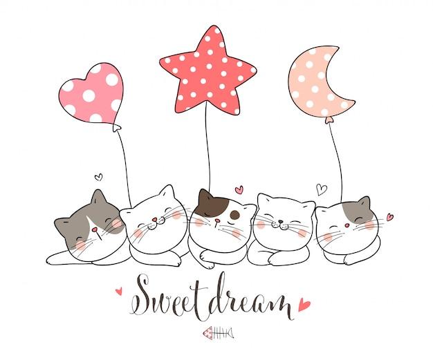 Disegna il gatto che dorme con il palloncino, a forma di cuore con la luna stellare. Vettore Premium